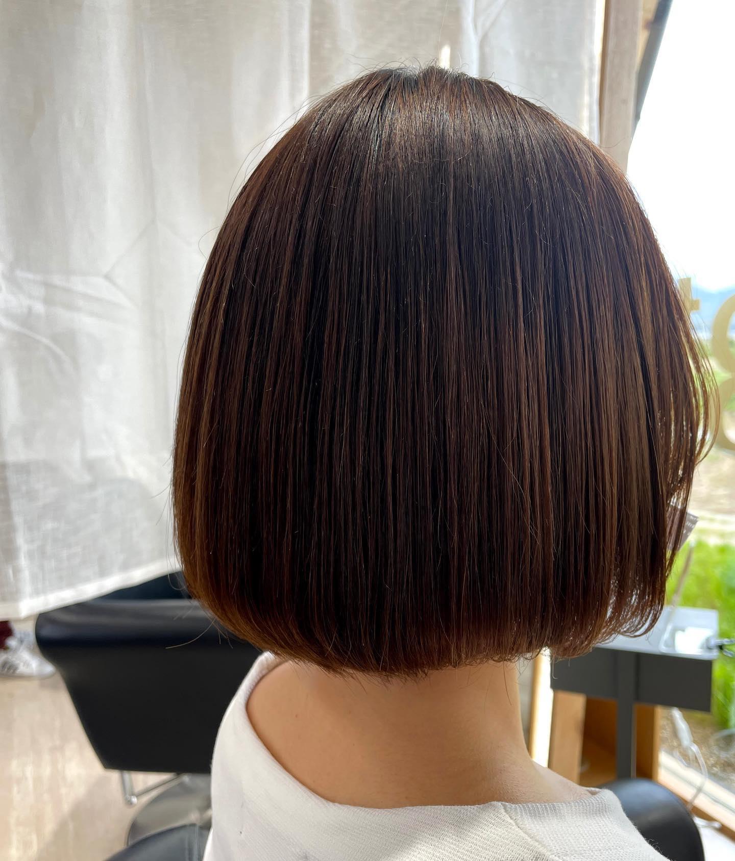 酸性ストレート乾かすだけでこの仕上がり️手触り抜群️梅雨時期にオススメ️#totti #hair #color #perm #cut #hairstyle #haircolor #hairarrange #stylist #care #carelist #aujua #イルミナカラー #headspa #treatment #美容院